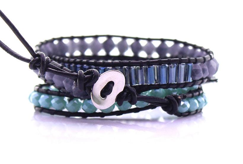 Labradorite Stone & Crystal & Glass Tube Bead Leather 3 Wrap Bracelet