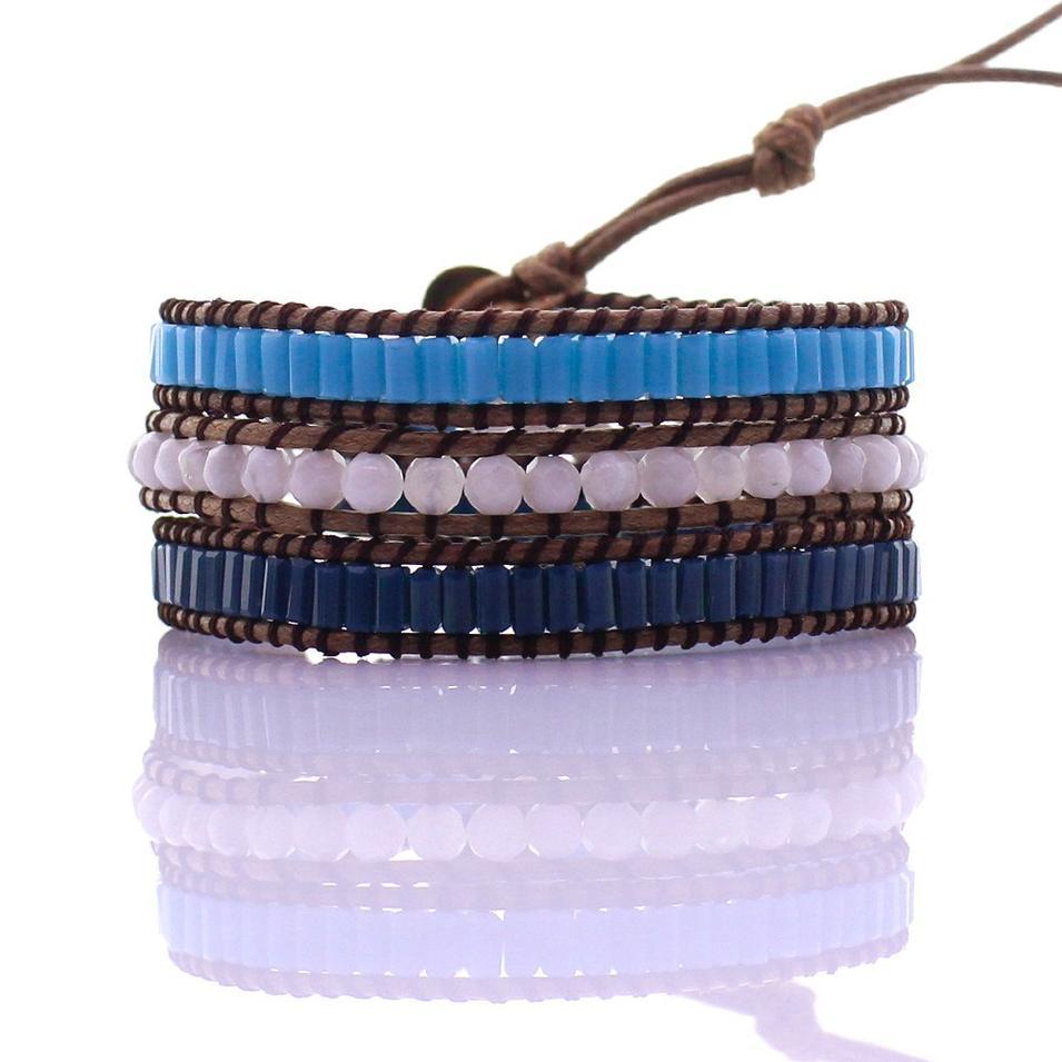 White Beads & Square Crystal Tube Beads 3 Wrap Bracelet