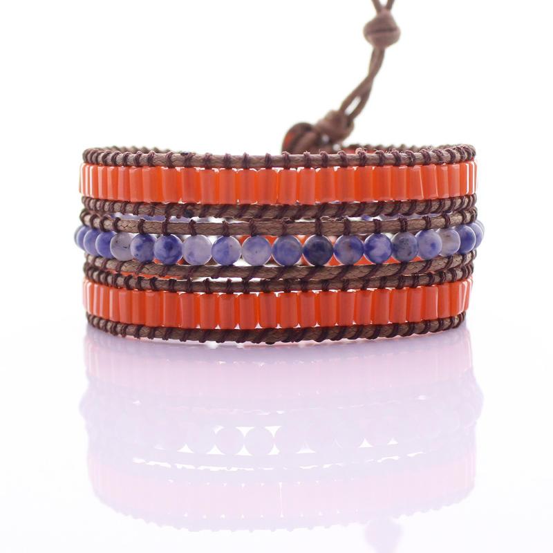 Handmade Sodalite & Glass Tube Beads 3 Wrap Bracelet