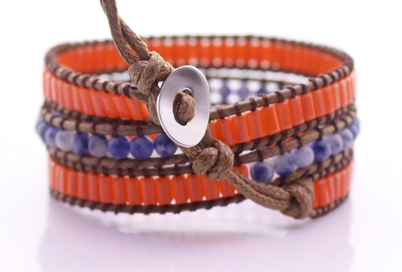 Handmade Blue-vein Stone & Glass Tube Beads 3 Wrap Bracelet