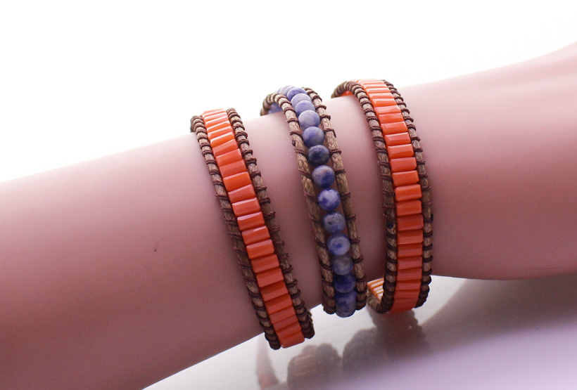 Handmade Blue-vein Stone & Glass Tube Beads 3 Wrap Bracelet