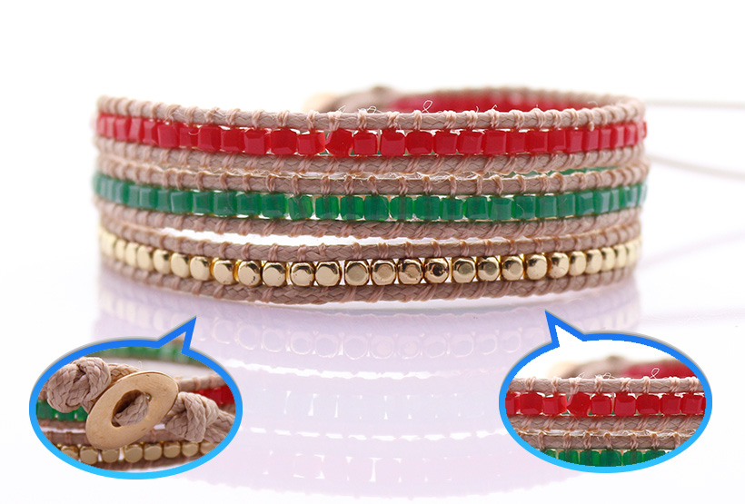 Handmade Crystal & Copper Square Beads 3 Wrap Bracelet