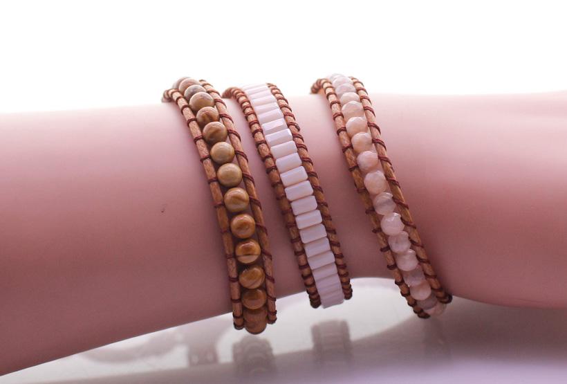 Handmade Grain Stone & Crystal Tube Bead & Sunstone 3 Wrap Bracelet