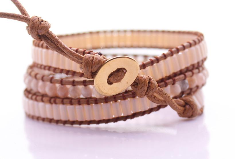 Handmade Crystal Tube Bead & Sunstone 3 Wrap Bracelet