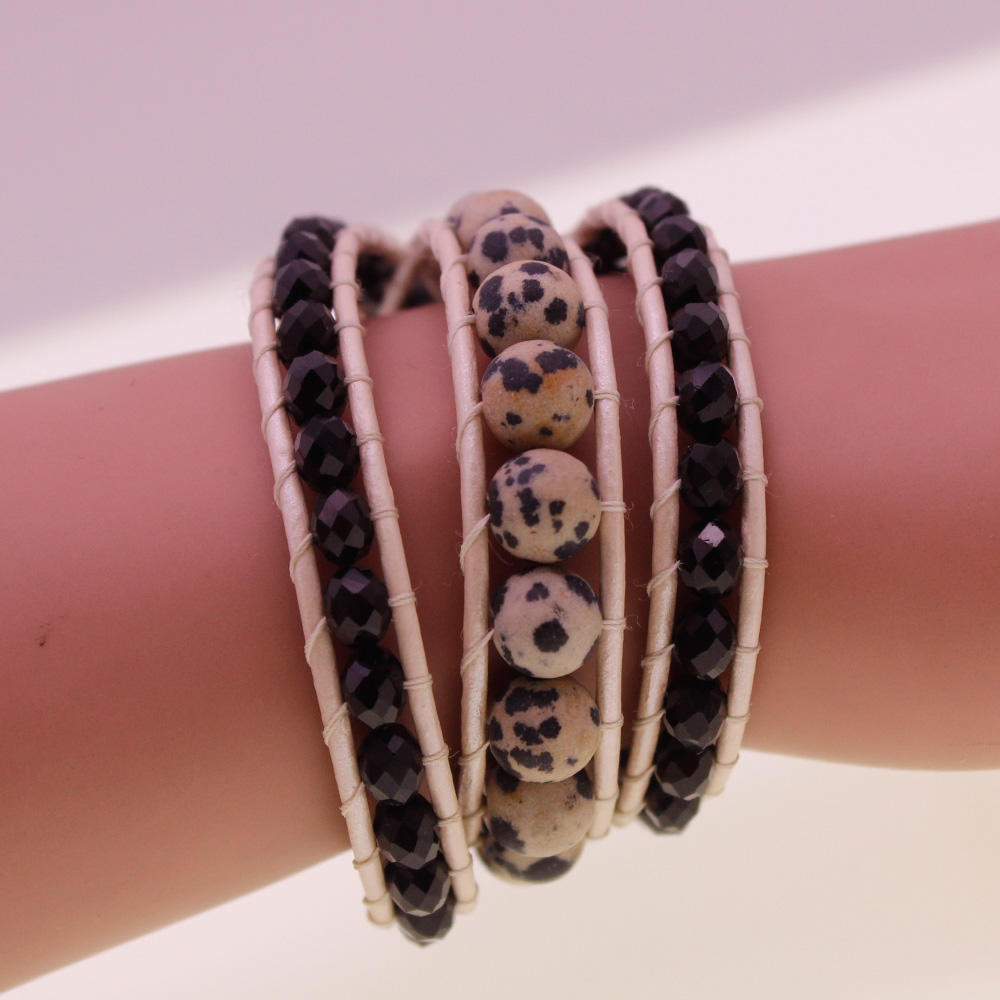 Dalmatian Jasper & Crystal Beads Leather 3 Wrap Bracelet
