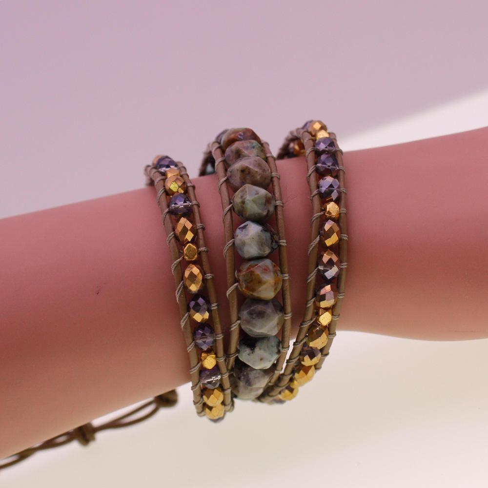 African Turquoise & Crystal Flat Beads Leather Beading Wrap Bracelet