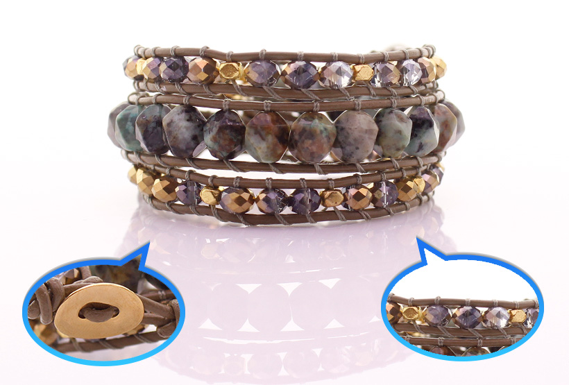 African Turquoise & Crystal Flat Beads Leather Beading Wrap Bracelet