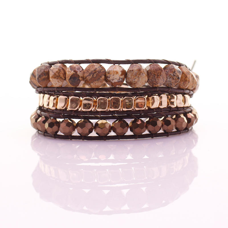 Picture Jasper & Crystal & Alloy Beads Leather Beading Wrap Bracelet