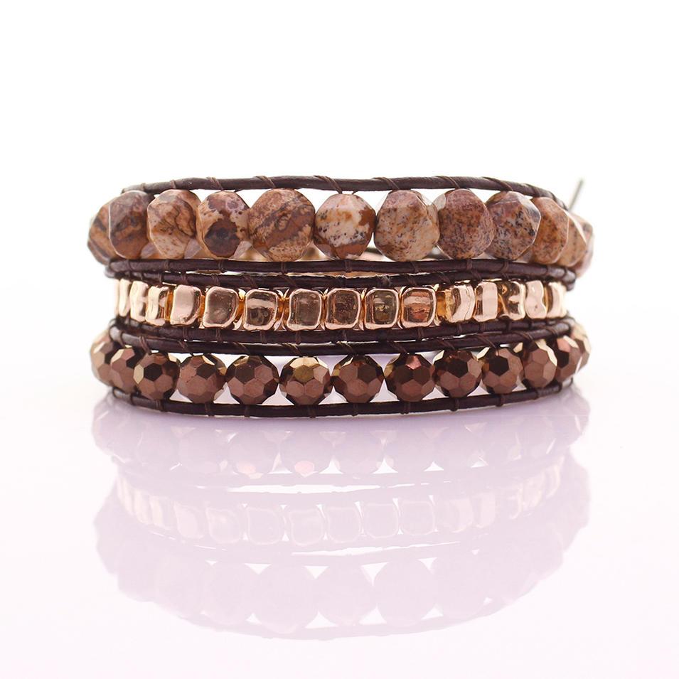 Picture Jasper & Crystal & Alloy Beads Leather Beading Wrap Bracelet