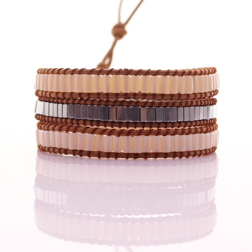 Square Crystal & Copper Tube Beads Leather Beading Wrap Bracelet