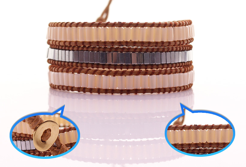 Square Crystal & Copper Tube Beads Leather Beading Wrap Bracelet