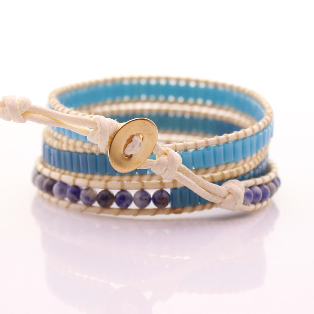 Sodalite & Square Crystal Beads Leather Beading Wrap Bracelet