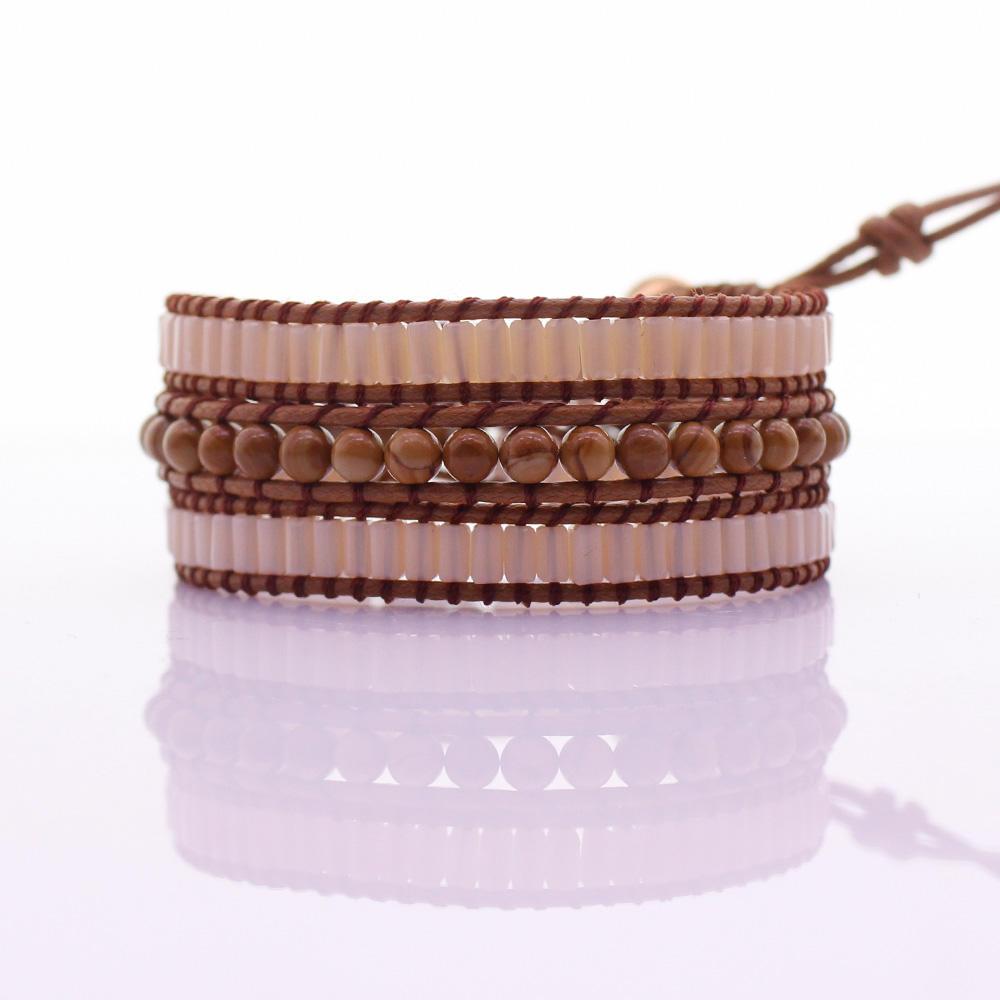 Handmade Square Crystal & Wooden Beads 3 Wrap Bracelet