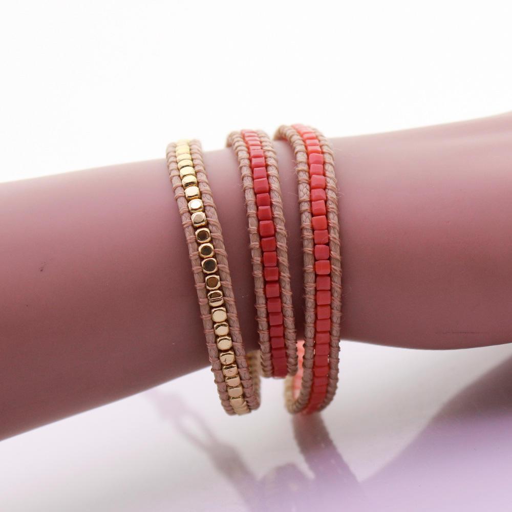 Handmade Square Crystal & Alloy Beads 3 Wrap Bracelet