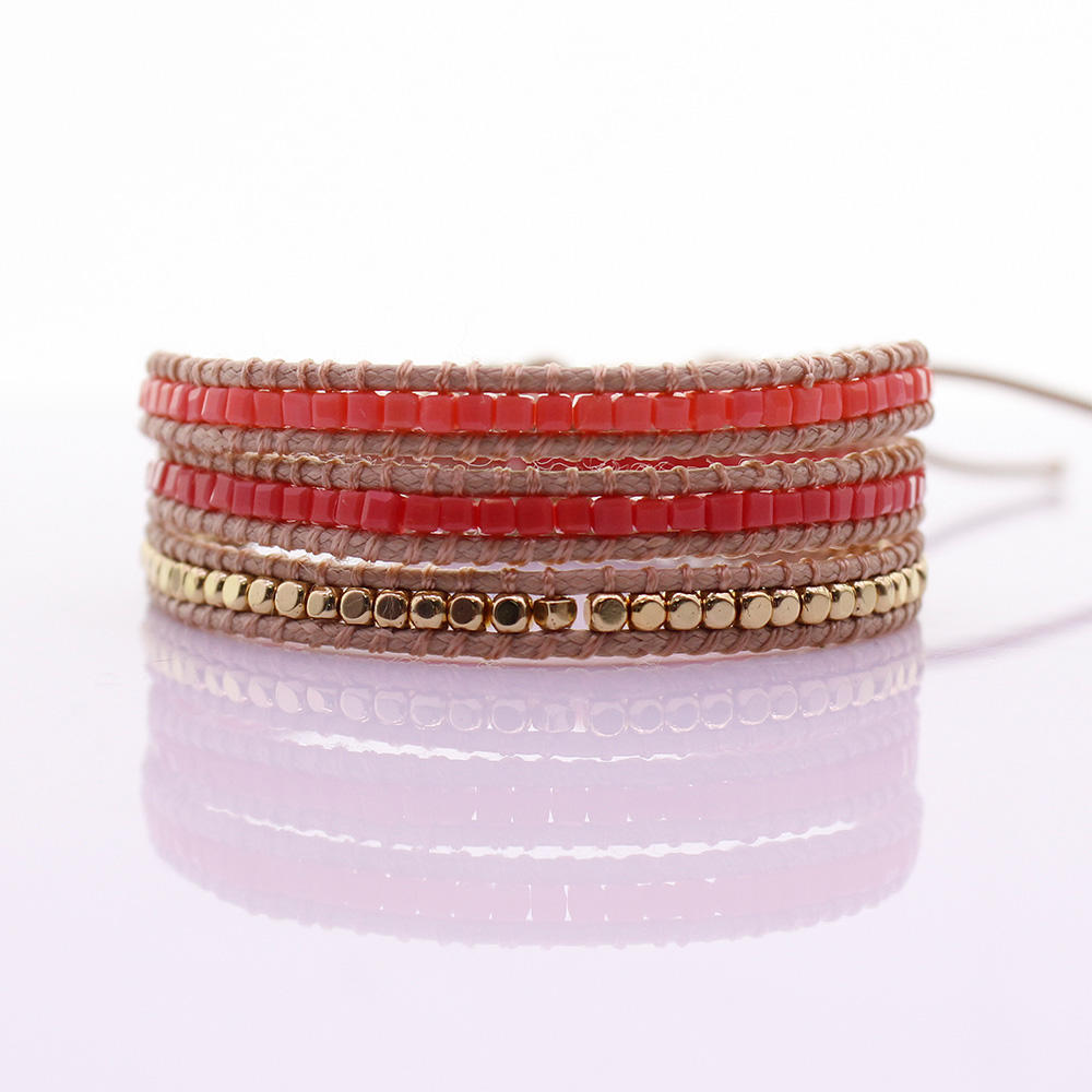 Handmade Square Crystal & Alloy Beads 3 Wrap Bracelet