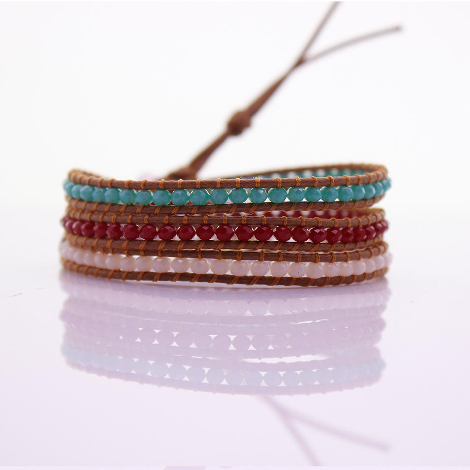 3mm Crystal Beads Leather Beading 3 Wrap Bracelet