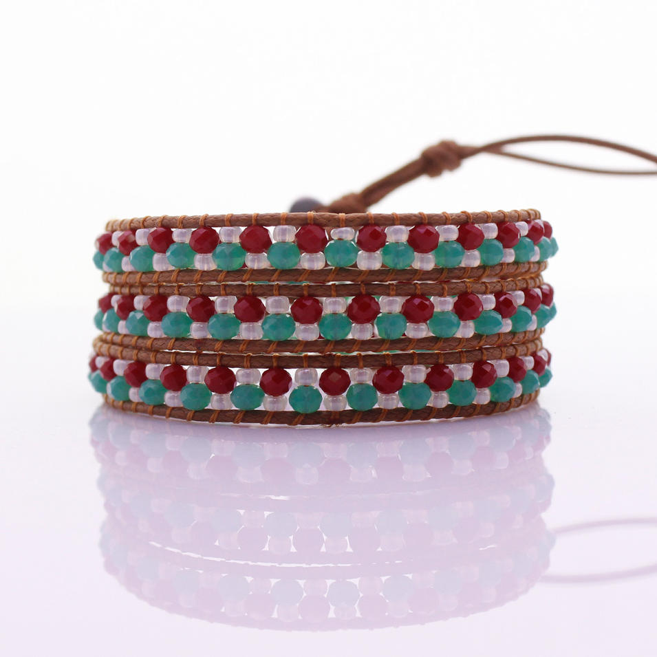 Crystal & Chinese Seed Beads Handmade Beading 3  Leather Wrap Bracelet