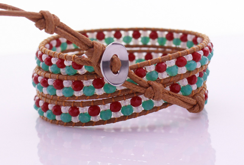 Crystal & Chinese Seed Beads Handmade Beading 3  Leather Wrap Bracelet