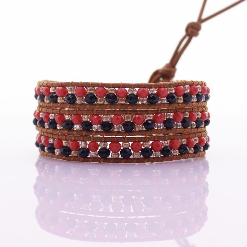 Crystal Flat Beads & Chinese Seed Beads Handmade Beading 3 Wrap Bracelet