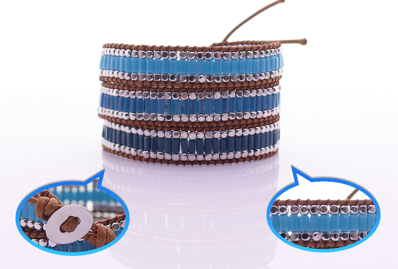 Handmade Square Crystal Tube Beads & Alloy Beads 3 Wrap Bracelet