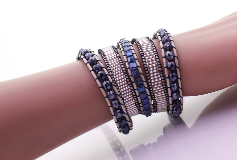Handmade Crystal & Glass Tube Beads 5 Wrap Bracelet