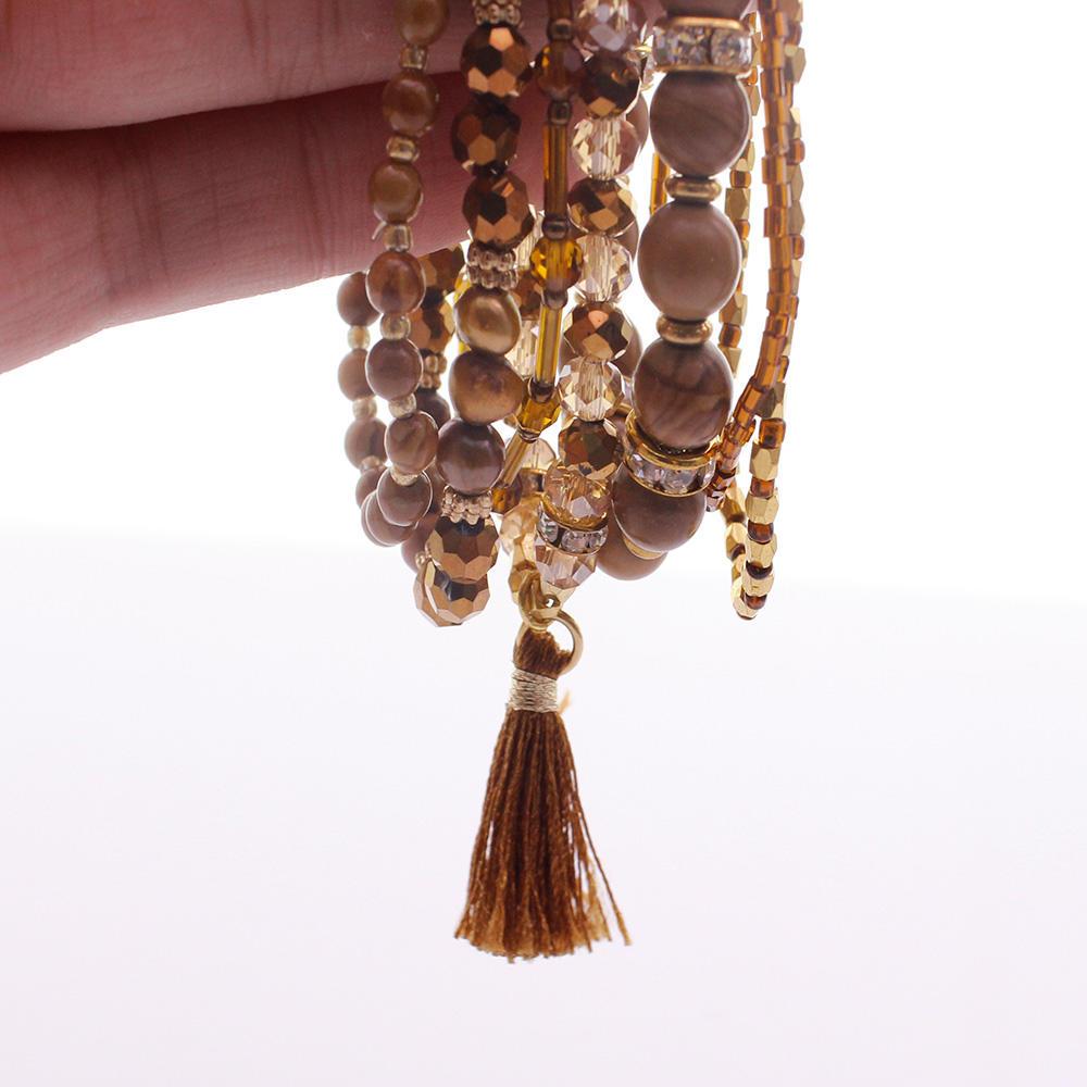 Wooden Stone Beads Crystal & Seed Bead Bracelet Set