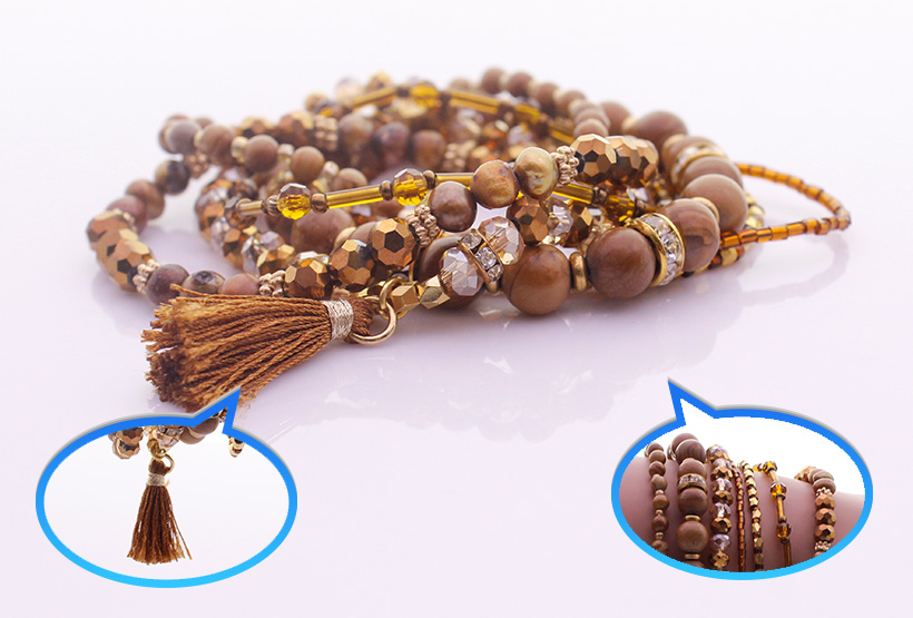 Wooden Stone Beads Crystal & Seed Bead Bracelet Set