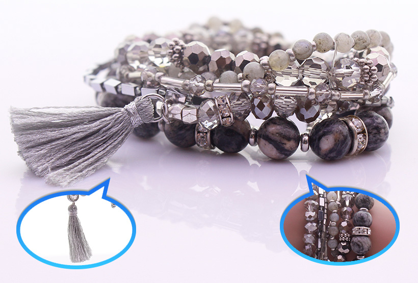 Natural Stone Crystal Beads & Seed Bead Mutilayer Bracelet Set
