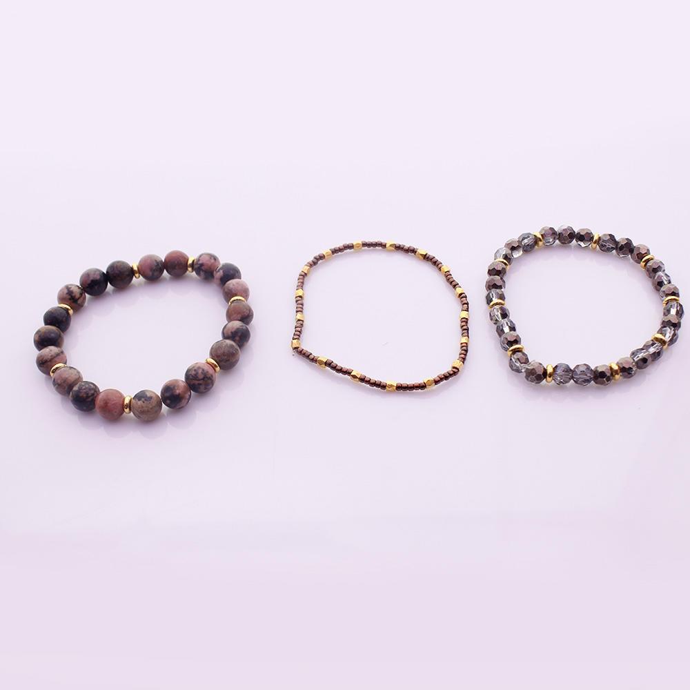 Natural Stone Crystal Beads & Seed Bead Bracelet Set