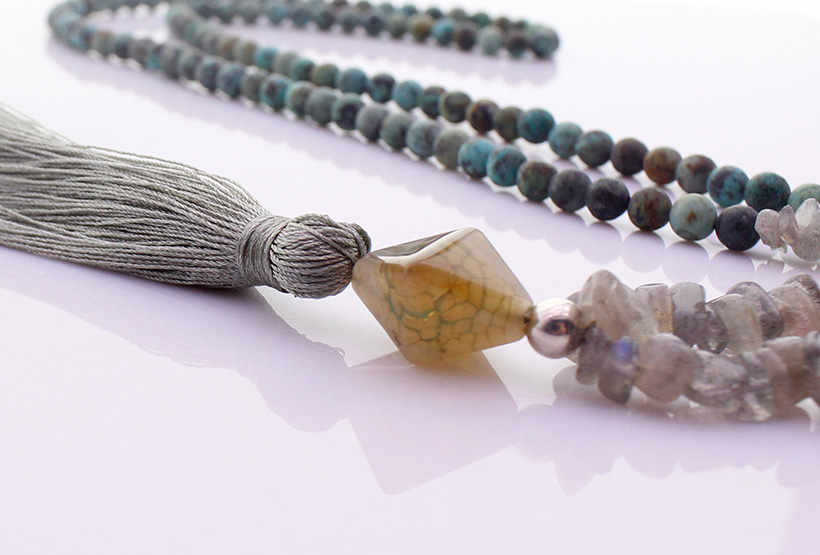 6mm African Turquoise Beads & Labradorite Chips Rhombus Stone Tassel Necklace