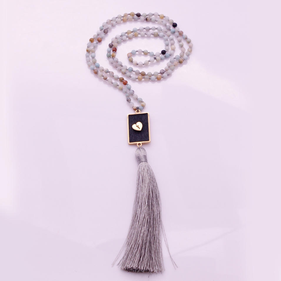 4mm Amazonite Beads Horsehair Alloy Pendant Mala Yoga Necklace