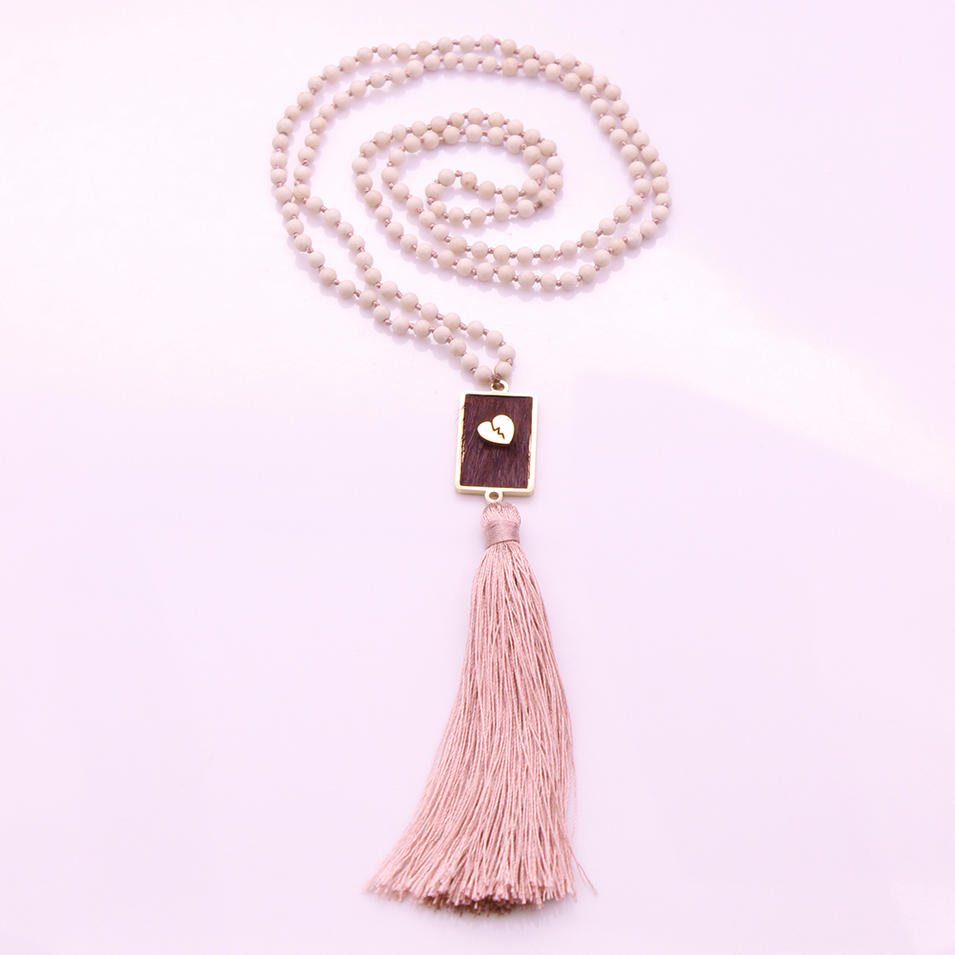 4mm Beige Fossil Beads Horsehair Alloy Pendant Mala Necklace