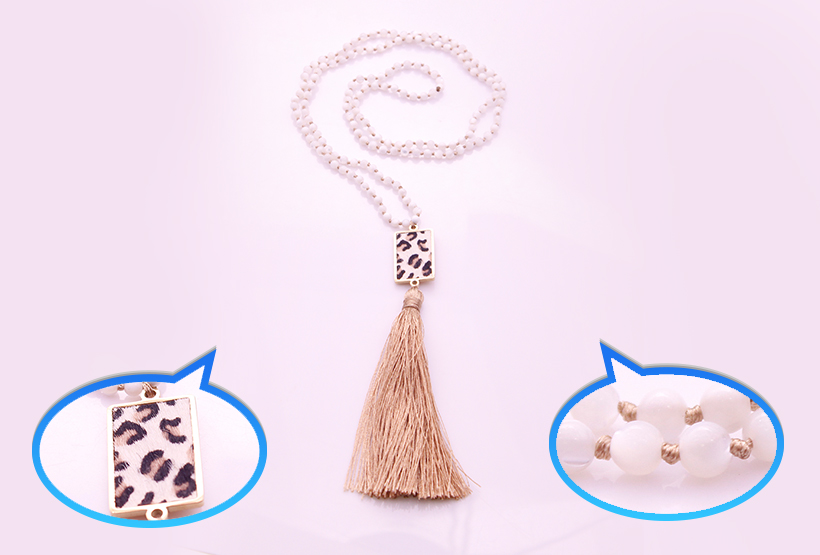 4mm White Abalone Beads Horsehair Alloy Pendant Mala Necklace