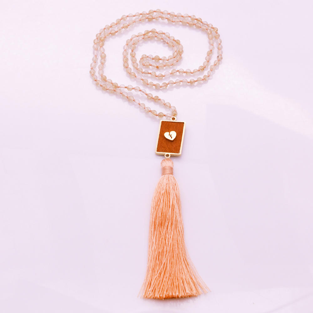 4mm Tea-watermelon Beads Horsehair Alloy Pendant Mala Yoga Necklace