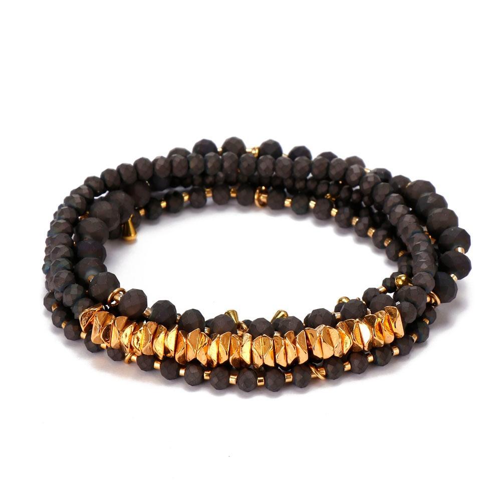 4mm & 2mm Crystal Gold Alloy Beads Mutilayer Bracelet Set