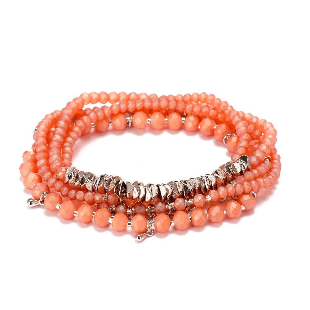 4mm & 2mm Crystal Beads Alloy Chips Mutilayer Bracelet Set