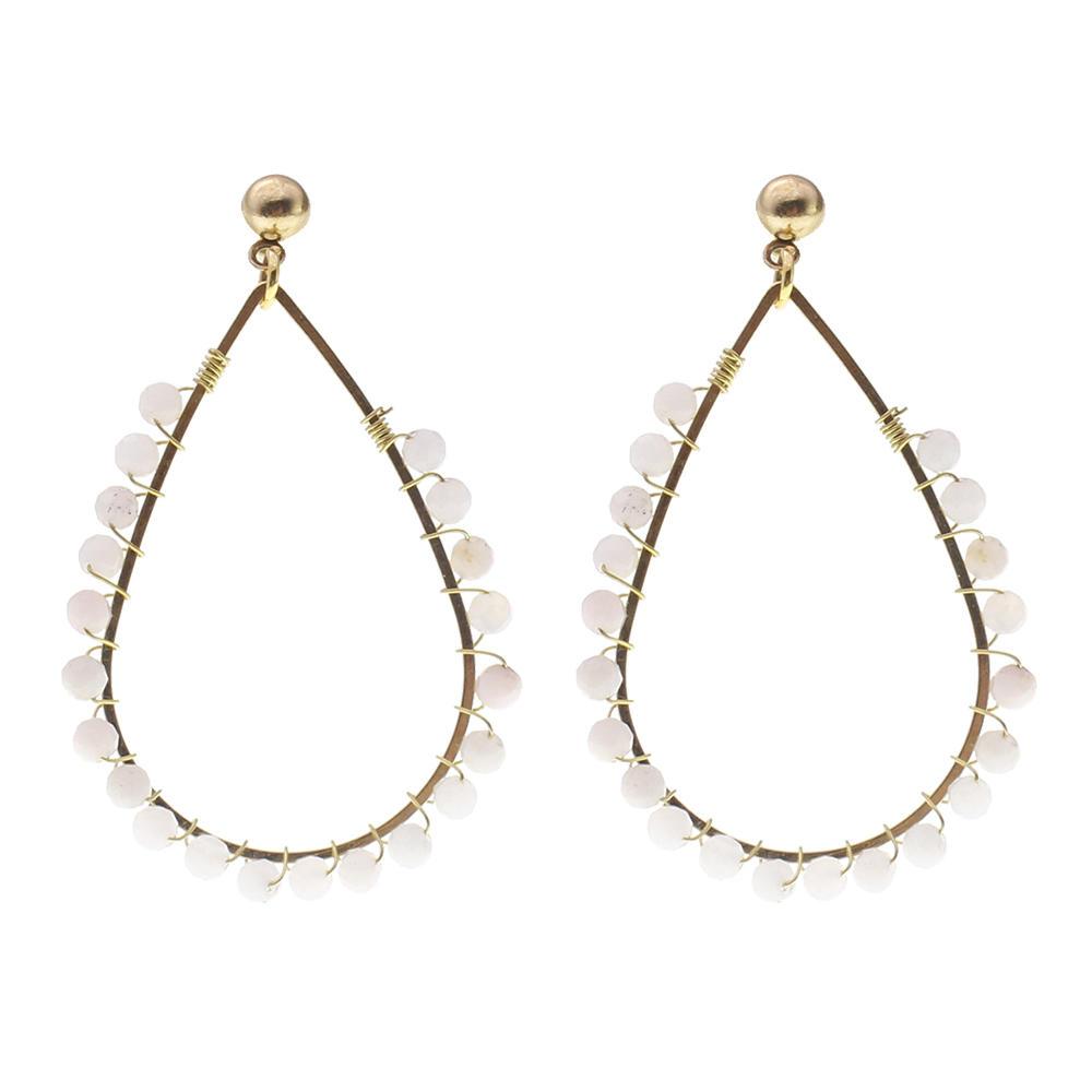 Natural Stone Beading Hoop Earrings
