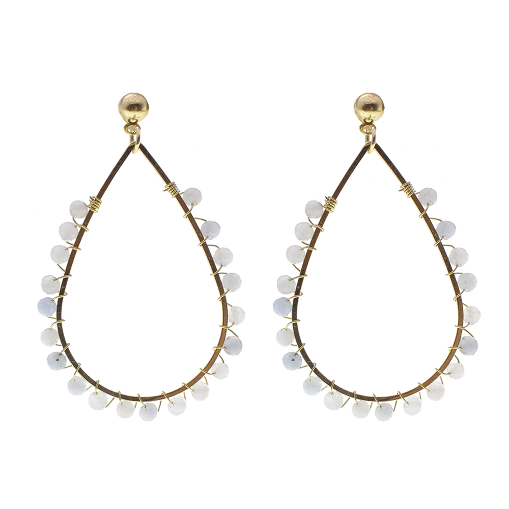 Natural Stone Beading Hoop Earrings