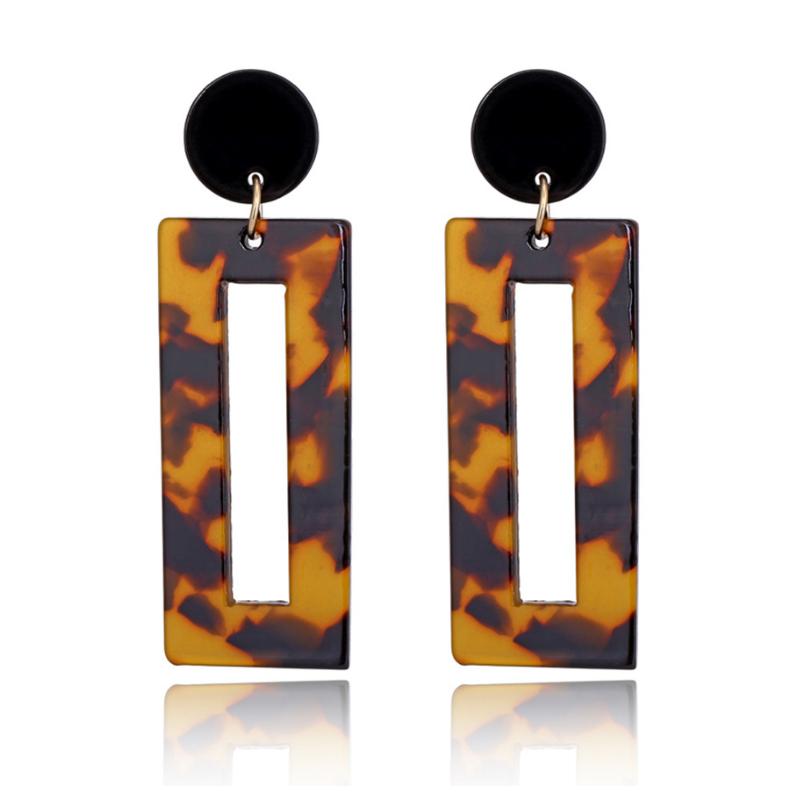 Tortoiseshell acrylic resin geometric square shape earrings