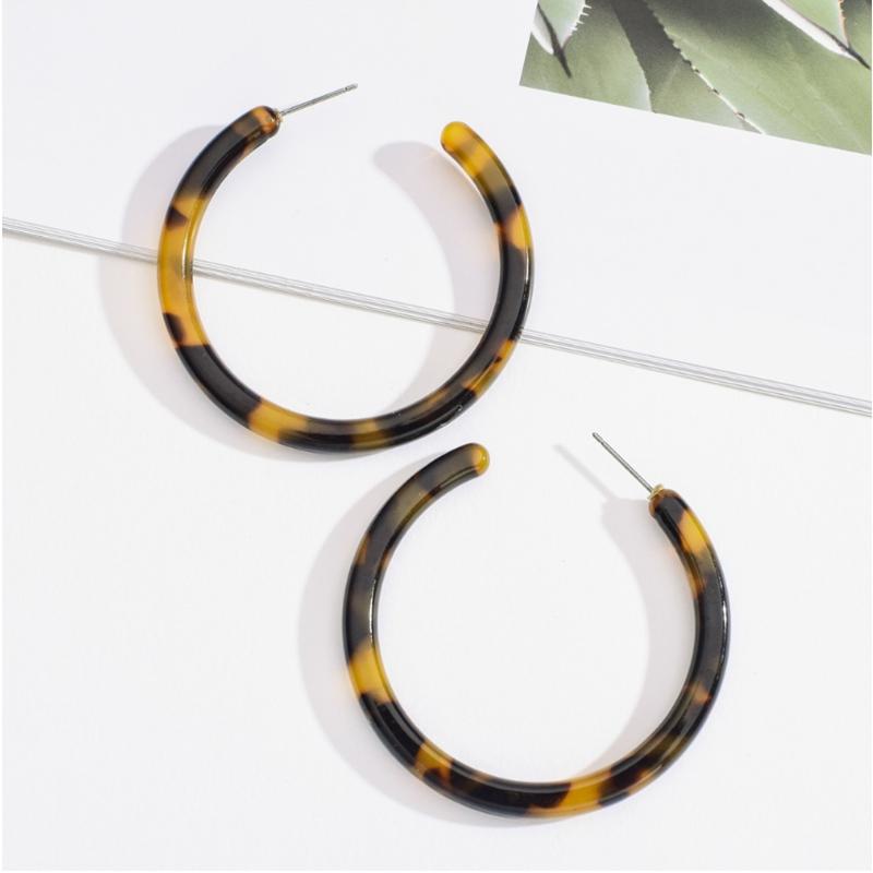 Handmade Tortoiseshell Acrylic Resin Hoop Earrings