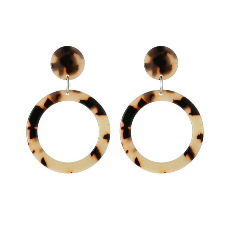 Handmade Tortoiseshell Acrylic Resin Drop Hoop Earrings