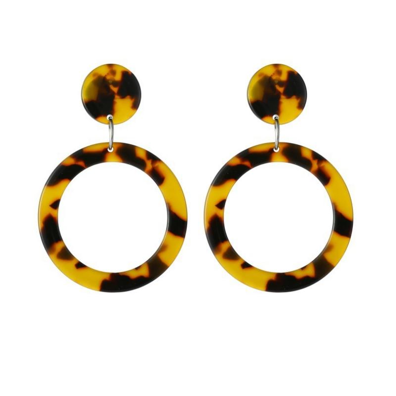 Handmade Tortoiseshell Acrylic Resin Drop Hoop Earrings