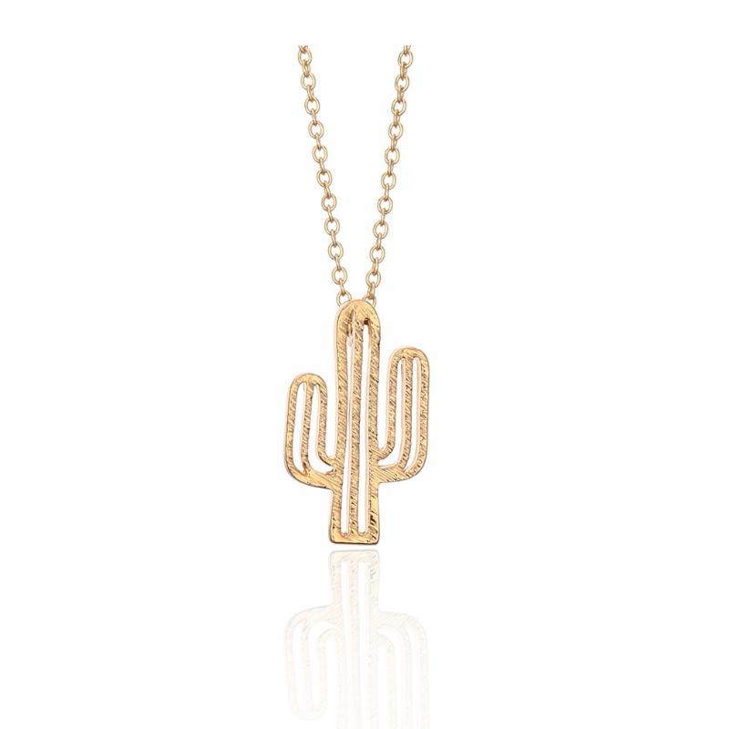 925 Silver Hollow Cactus Pendant Short Necklace