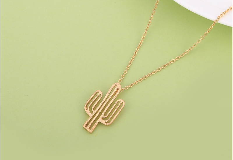 925 Silver Hollow Cactus Pendant Short Necklace