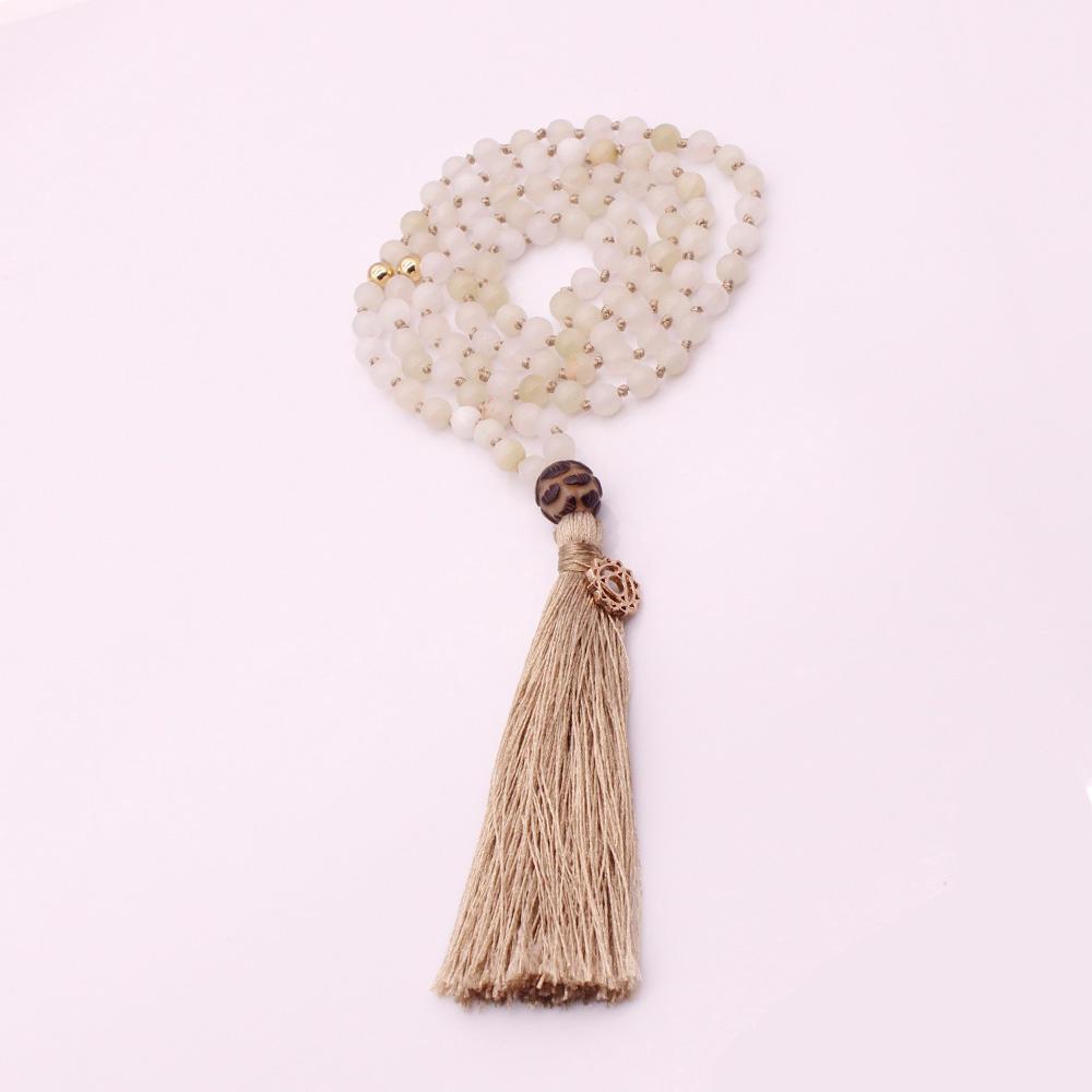 Natural Stone 6MM Beads Lotus Guru Beads Mala Yoga Necklace
