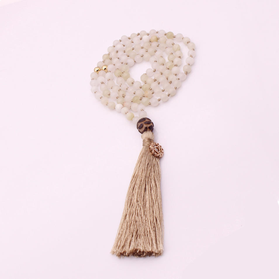 Natural Stone 6MM Beads Lotus Guru Beads Mala Yoga Necklace