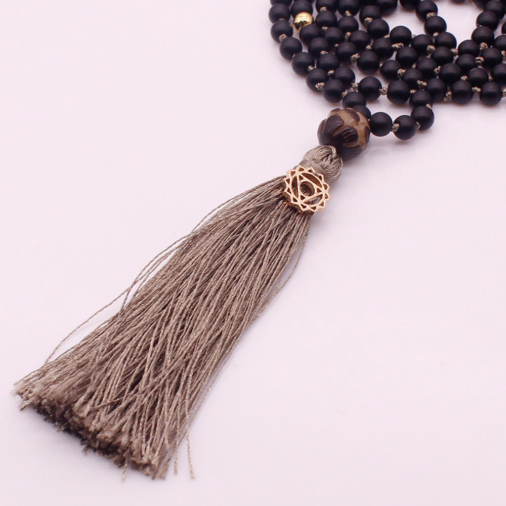 6mm Black Glass Beads Lotus Guru Bead Mala Yoga Necklace