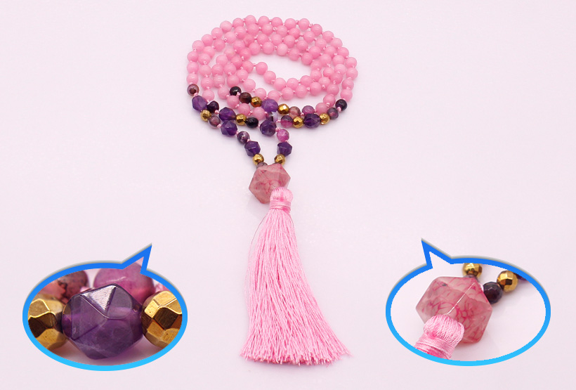 6MM Pink Colorful Jade Stone & Section Amethyst Beads Mala Yoga Necklace