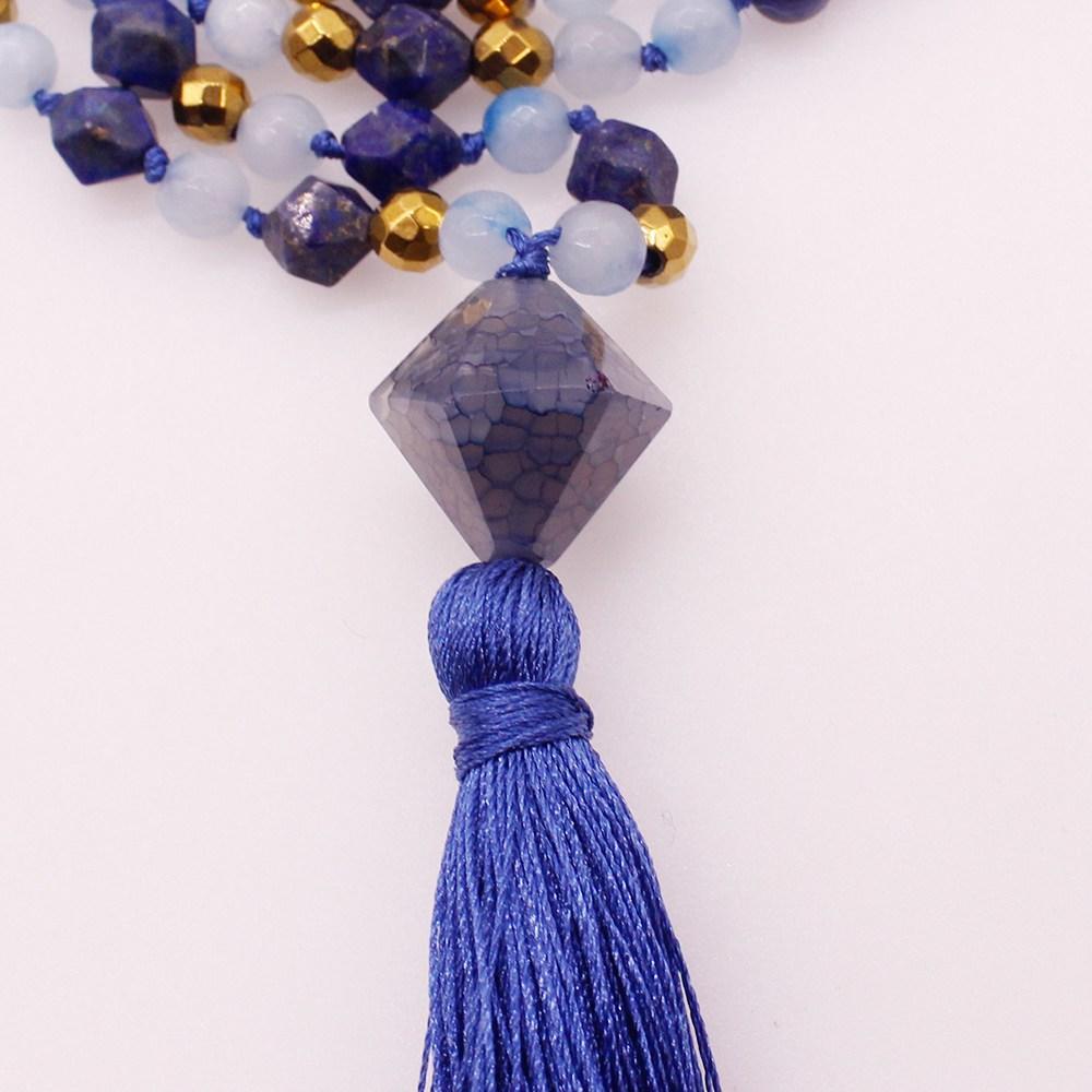 6MM Blue Sodalite & Section Lazuli Lapis Beads Mala Yoga Necklace