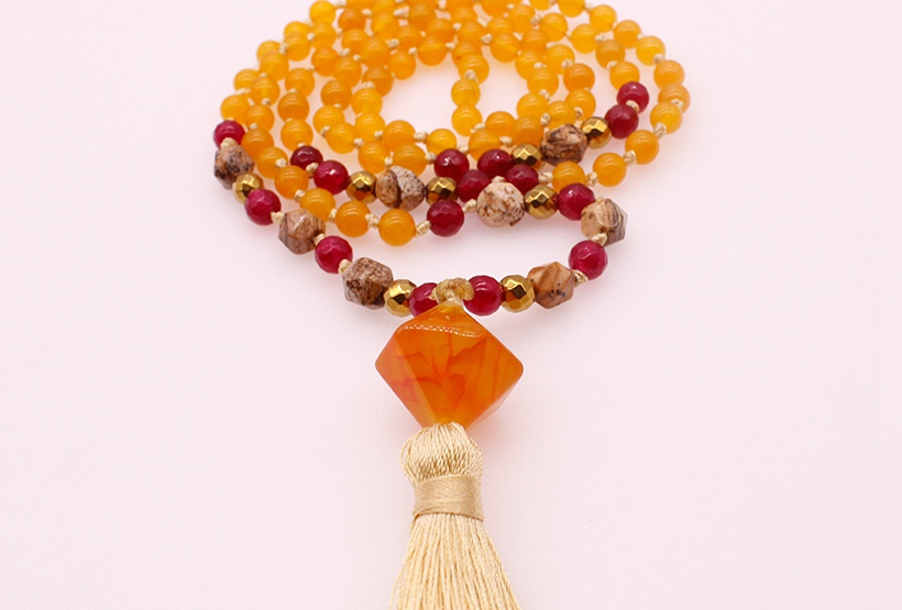 6MM Colorful Jade Stone & Picture Jasper Section Beads Mala Yoga Necklace